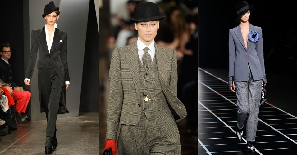 Looks de Donna Karan, Ralph Lauren e Giorgio Armani desfilados para o Inverno 2012