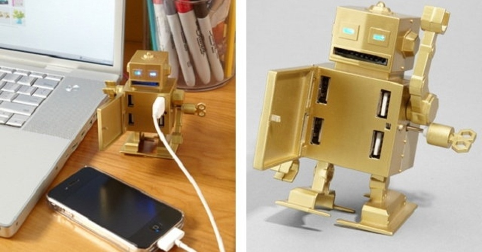 O Roboto USB &#233; um hub USB, mas antes de tudo ele &#233; um rob&#244; mec&#226;nico que ap&#243;s acionar uma manivela faz com que ele caminhe. O hub tem quatro portas USB 2.0 que ficam no seu peito