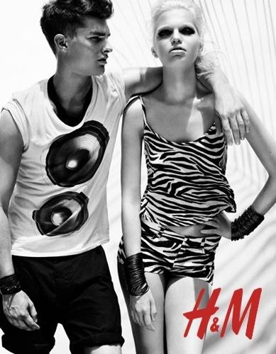 Paolo Anchisi e Daphne Groeneveld na campanha da H&M para o Verão 2012