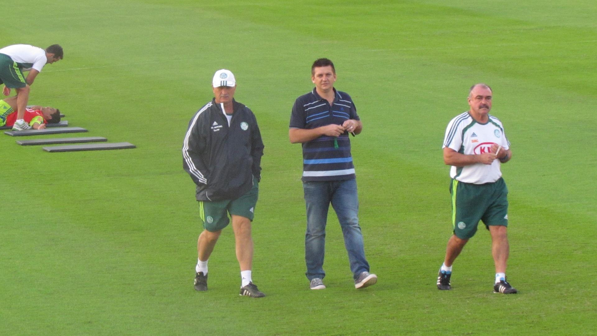 Felipão, Galeano e Murtosa em treino do Palmeiras