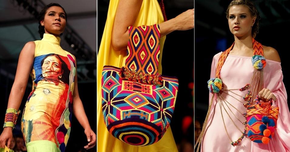 Modelos apresentam criações da estilista Marta Arredondo que valorizam o colorido artesanato colombiano na coleção apresentada na terceira edição do Círculo de la Moda de Bogotá (11/05/2012)