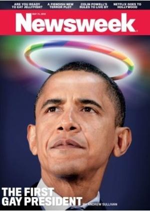 """14.mai.2012 -  Capa da edição de 21 de maio da revista Newsweek, que chama Barack Obama de """"primeiro presidente homossexual"""" dos EUA"""