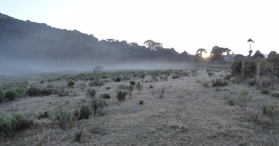 14.mai.2012 - O município de Urupema (foto), na serra catarinense, registrou temperatura mínima de -4.4°C na manhã desta segunda (14)