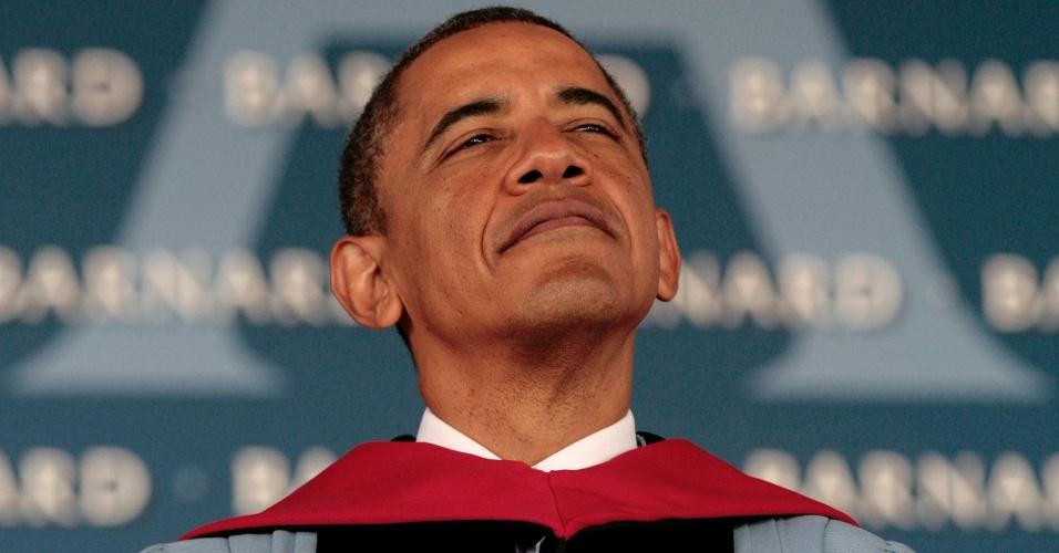 14.mai.2012 - O presidente dos Estados Unidos, Barack Obama, discursa durante cerimônia de formatura da turma de 2012 da faculdade Barnard College, em Nova York (EUA)