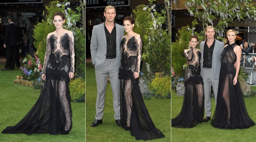 Kristen Stewart, Chris Hemsworth e Charlize Theron prestigiam a pr&#233;-estreia do filme &#34; Branca de Neve e o Ca&#231;ador&#34; em Londre (14/5/12)