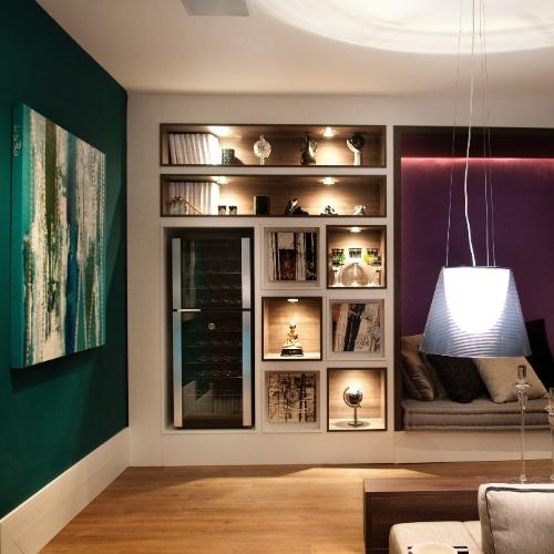 Casa Cor SC - 2012 - Home Theater do apartamento assinado pela arquiteta Cintia de Queiroz