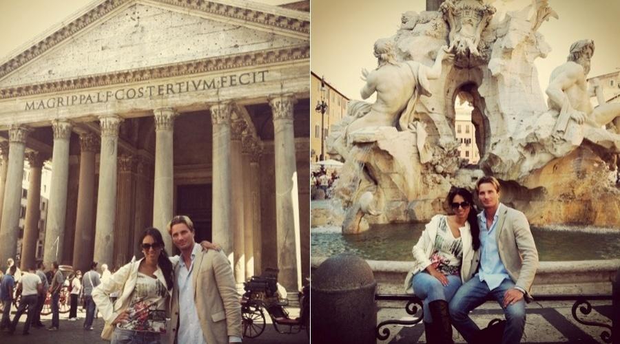 Ex-BBB Ariadna curte férias em Roma, Itália, acompanhada do namorado, o italiano Gabriele Benedetti (15/5/12)