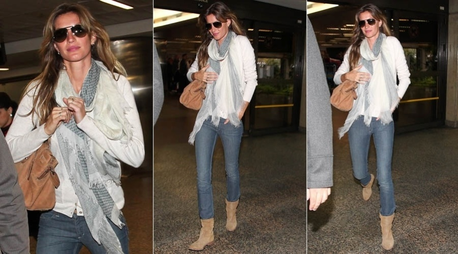 Gisele B&#252;ndchen desembarca no aeroporto internacional de Guarulhos, em S&#227;o Paulo (15/5/2012)
