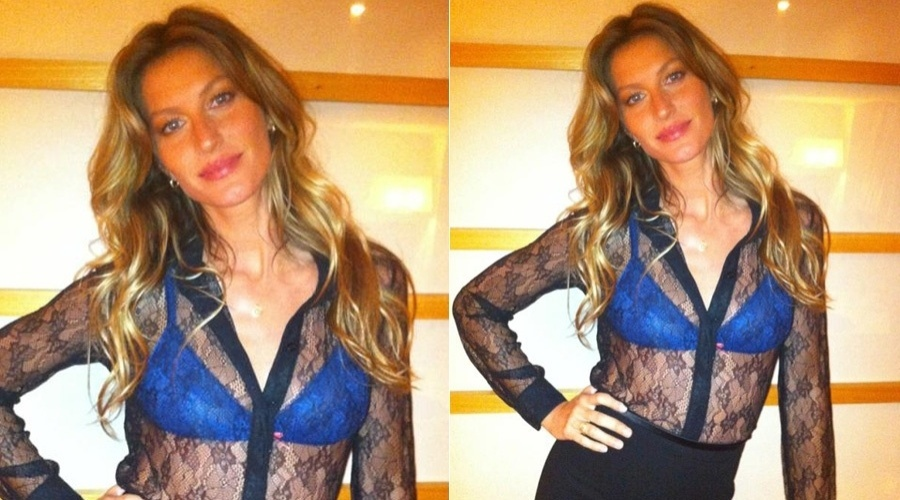 Gisele B&#252;ndchen mostra modelito que vai usar no lan&#231;amento de sua cole&#231;&#227;o de lingerie, em S&#227;o Paulo (15/5/12)