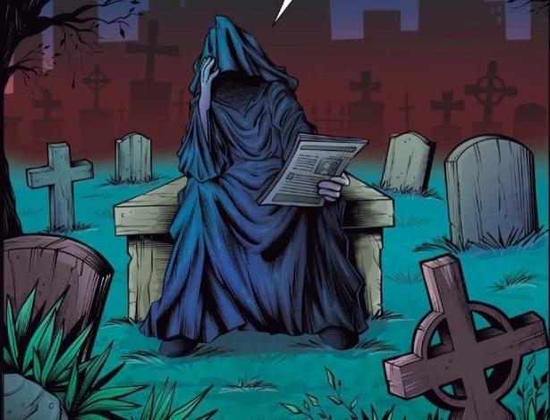 A arte-finalista Thaty Monteiro criou uma versão preocupada da Dona Morte