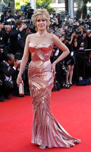 A atriz Jane Fonda chega ao Palácio do Festival, que recebe a abertura do Festival de Cannes 2012 (16/5/12)