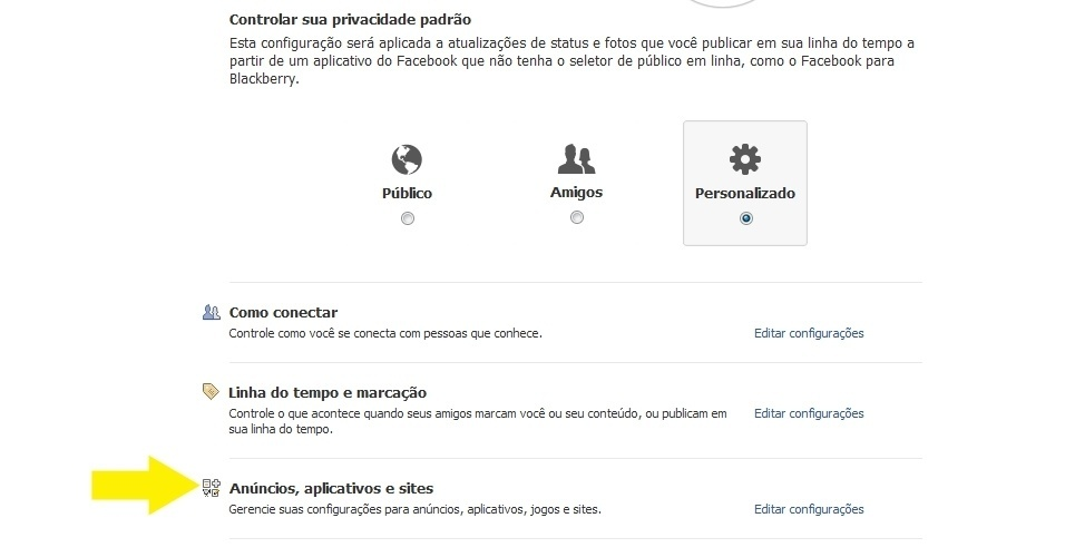Configura&#231;&#245;es de privacidade no Facebook