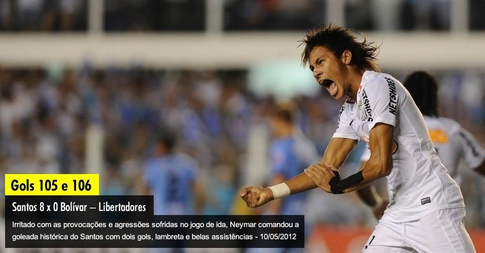 Irritado com as provocações e agressões sofridas no jogo de ida, Neymar comandou a goleada histórica do Santos com dois gols, lambretas e assistências - 10/05/2012