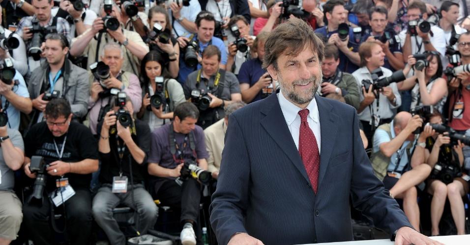 O ator e diretor italiano Nanni Moretti, presidente do júri do Festival de Cannes 2012, posa para foto no primeiro dia do Festival de Cannes 2012 (16/5/12)