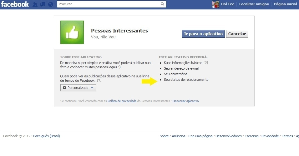 Pessoas Interessantes, aplicativo do Facebook
