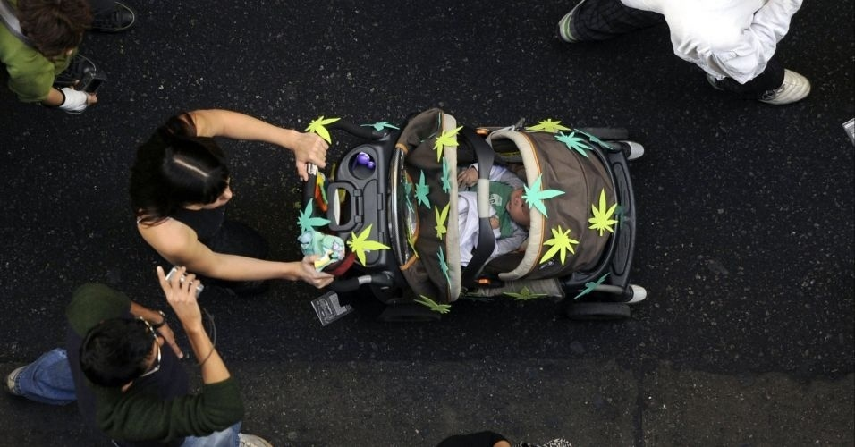 Folhas De Cannabis  Durante Protesto Pela Legaliza    O Da Maconha  Em
