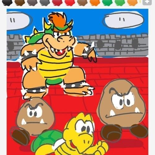 """Bowser, o rei koopa, manda seus asseclas para infernizar a vida de Mario neste desenho de """"Draw Something"""""""