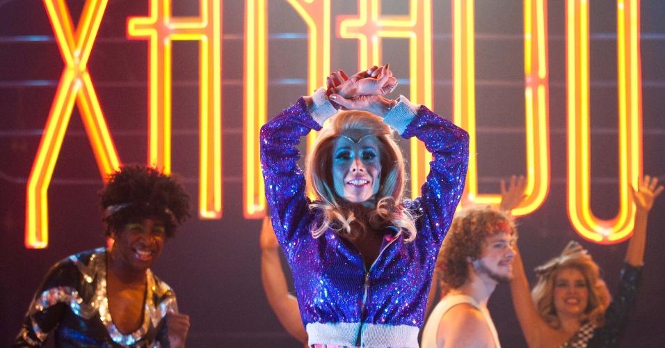 Danielle Winits durante apresentação do musical Xanadu, um de seus últimos trabalhos