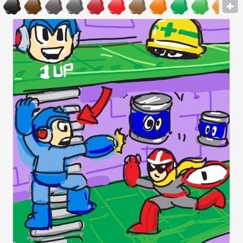 """Desenhar uma escada é relativamente fácil, mas esse usuário resolver ser criativo e reproduziu um cenário de """"Mega Man"""""""