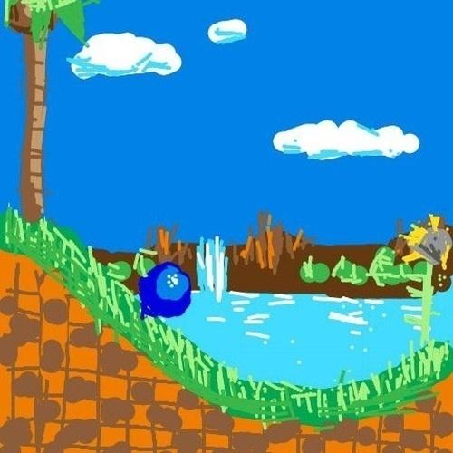 """Em vez de desenhar o personagem em si, esse usuário fez todo o icônico cenário de Green Hill Zone, a primeira fase de """"Sonic the Hedgehog"""""""