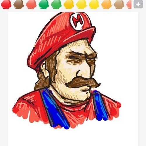 """Esse aí resolveu retratar Mario com traços mais realistas, dentro dos limites do """"Draw Something"""", claro"""