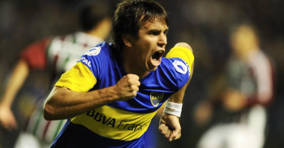 Pablo Mouche comemora após abrir o placar para o Boca Juniors contra o Fluminense em La Bombonera