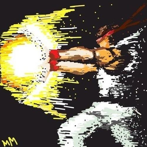 """Uma """"magia"""" bem dramática é retratada nesse trabalho de """"Draw Something"""". A palavra aqui é """"Fireball"""", que é o que parece esse golpe característico de Ryu, da série """"Street Fighter"""""""