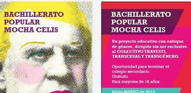 Panfleto da escola argentina Mocha Celis, que é voltada para travestis