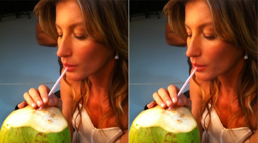 A modelo Gisele B&#252;ndchen postou uma foto no Twitter tomando &#225;gua de coco. &#34;Mmm...Brazil.. Isso &#233; o para&#237;so! ;)&#34;, escreveu a top