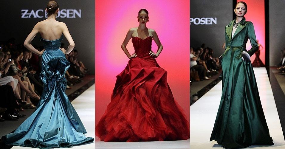 Modelos desfilam criações do estilista americano Zac Posen para temporada Outuno/Inverno 2012, durante o