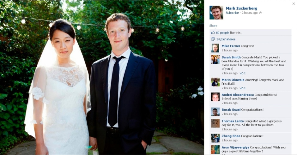 20.mai.2012 - O co-fundador do Facebook Mark Zuckerberg posta foto de seu casamento com Priscilla Chan em sua p&#225;gina na rede social