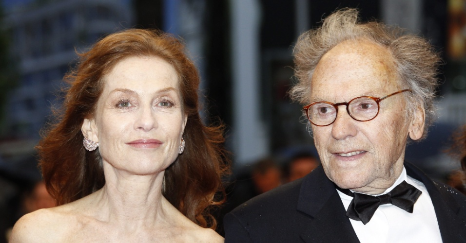 "A atriz francesa Isabelle Huppert e o ator francês Jean-Louis Trintignant na première do filme ""Amour"" (20/5/12)"