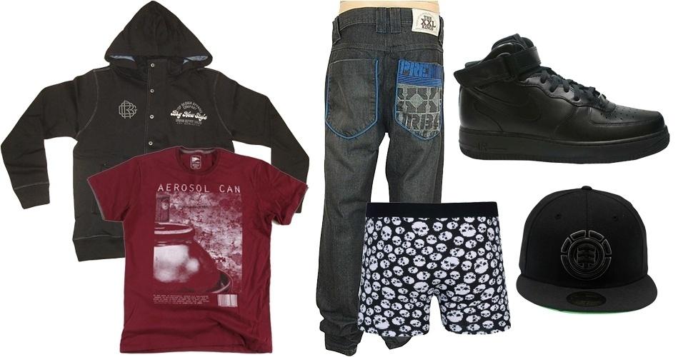 """A calça baixa com cueca aparecendo (""""sagging pants"""") se tornou um símbolo de liberdade dentro do movimento hip hop"""