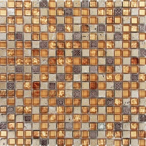 A placa é composta por pastilhas de vidro, mármore e cerâmica da Colormix