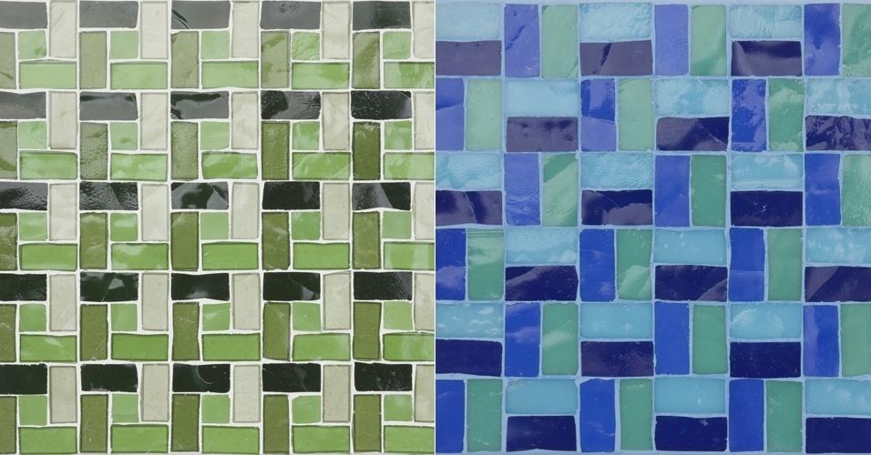 De produção artesanal, o mosaico de vidro tem formato retangular da Vidrotil