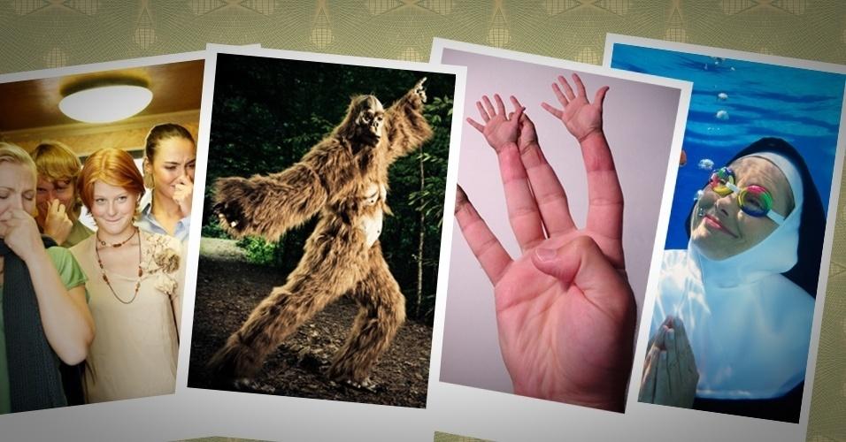 Fotos bizarras em serviços de imagens como Getty Images e Shutterstock vão de Pé Grande dançarino a freira mergulhadora