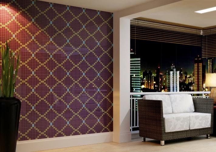 Inspirado em tramas e bordados, o mosaico Tessera Entrelacé, da Biancogres, é composto por pastilhas em cerâmica monoporosa