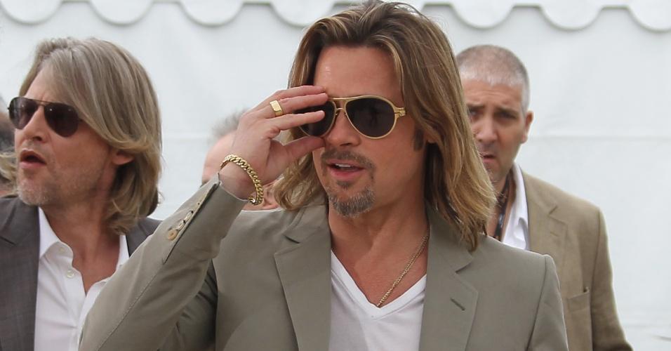 """O ator Brad Pitt durante apresentação do filme """"Killing them Softly"""", que está na competição oficial do Festival de Cannes 2012 (22/5/12)"""