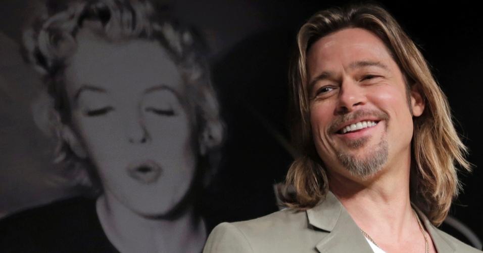 """O ator Brad Pitt durante conferência sobre o filme """"Killing them Softly"""" no Festival de Cannes 2012 (22/5/12)"""