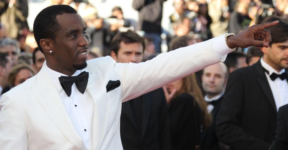 """O músico Sean Combs (também conhecido como P. Diddy) chega à exibição do filme """"Killing them Softly"""" no Festival de Cannes 2012 (22/5/12)"""
