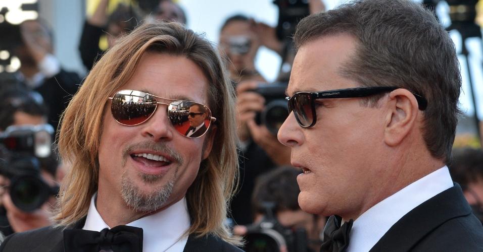 """Os atores Brad Pitt e Ray Liotta chegam ao Palácio do Festival para a exibição de """"Killing them Softly"""" no Festival de Cannes 2012 (22/5/12)"""