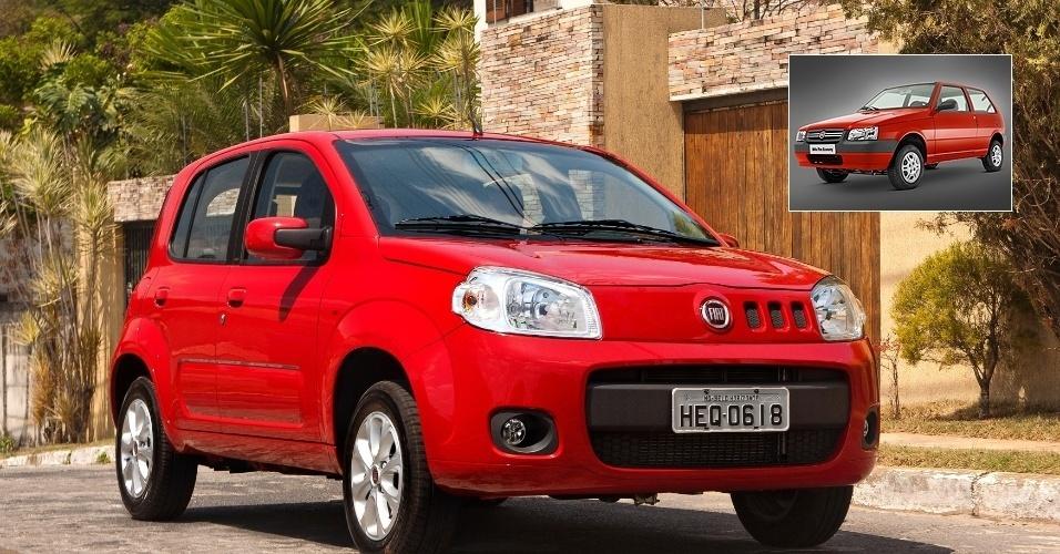 2º lugar: Fiat Uno -- Vivace 1.0: R$ 26.880 (era R$ 24.110); Mille Economy 1.0: R$ 21.360 (era R$ 23.650)