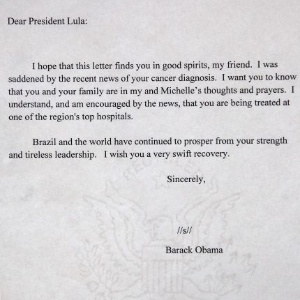 22.nov.2011 - Carta do presidente dos EUA, Barack Obama, para Lula.