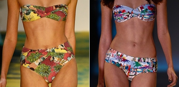 """Biquínis com modelagem """"retrô"""" nas passarelas da Salinas (esq.) e Blue Man (dir.) durante o Fashion Rio Verão 2013"""