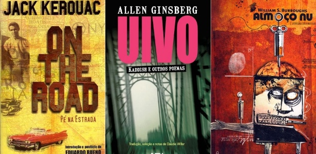 """Capas das edições brasileiras de """"On The Road"""", """"Uivo"""" e """"Almoço Nu"""""""