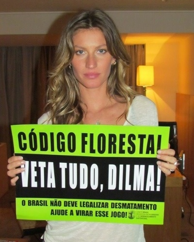 Gisele B&#252;ndchen, embaixadora da ONU para o meio ambiente, tamb&#233;m n&#227;o ficou de fora da campanha