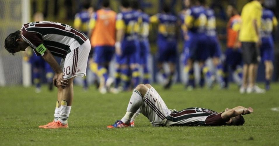 Rafael Moura e Thiago Neves lamentam a eliminação do Fluminense na Libertadores, após empate com o Boca