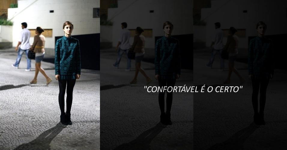 Tina Saldanha, 20, estudante de moda, usa vestido Lanvin, meia H&M e bota Osklen (22/05/2012)