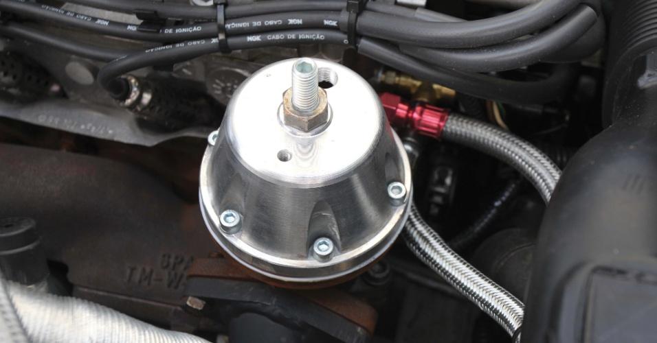 O turbo da Saveiro de Felipe Martins, da SPA Turbo, tem eixo de 46 mm e rotor de 38,8 mm, que gera 0,6 kg de pressão