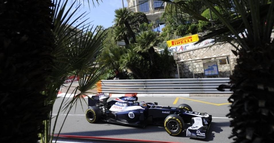 O venezuelano Pastor Maldonado, companheiro de Bruno Senna na Williams, fez um bom tempo no primeiro treino livre para o GP de Mônaco